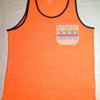 Tuanis — Summer Collection Tank Top - Neon Orange w/ yellow birds