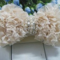 Ruffle Fabric Pearl Belt