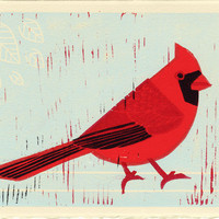 Cardinal: Red Cardinal Bird Linocut Illustration Art Print