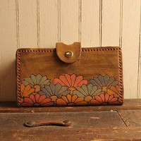 Southwest Summer Checkbook Wallet - Leather in Sage, Blue, Pink, Orange, Gold and Antique Brown