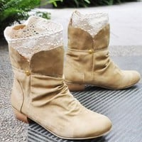 Low Cut Crocheted Lace Lining Boots Brown Plus Size Available