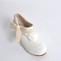 Mori Girl Fashion Vintage Style Lace Tie Low Ankle Length White Boots
