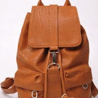 Leather Two Pockets Backpack Light Brown