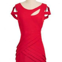 Red Short Sleeve Cutout Dress with Cinched Waist