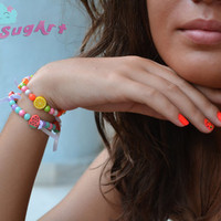 Set of 2 - Fruits and Beads Bracelets - Handmade by PinkSugArt