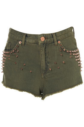 MOTO Khaki Studded Hotpants - Shorts  - Clothing