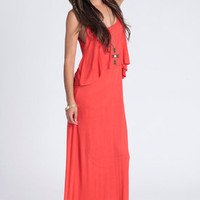Steady Ground Tiered Maxi Dress in Coral - $38.00: ThreadSence, Women's Indie & Bohemian Clothing, Dresses, & Accessories