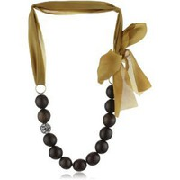Amazon.com: Sparkling Sage Wood &amp; Silk Ribbon Crystal Ball Gold-Tone Necklace, 24&quot;: Jewelry