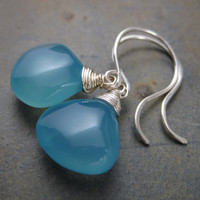 Aqua Chalcedony Briolette Earrings -Sterling Hooks - Smooth Tear Drop