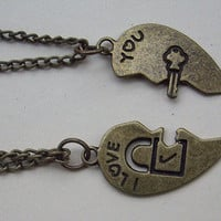 2pcs-Lover partner necklace -lock and key