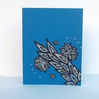 Ocean Blue Flowers & Vines Hand Drawn Note Card -Single Card- Envelope included