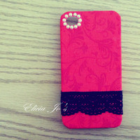 Cotton Cloth iPhone 4 case, iPhone 4s case, iPhone case, case for iPhone 4 - Red flowers and lace