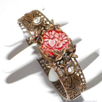 Vintage Art Deco Molded Coral Pink Glass Rhinestone Brass Filigree Bracelet