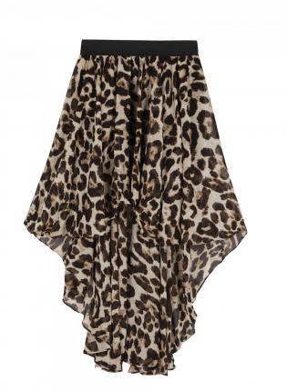 Animal Print Asymmetric Hem Skirt