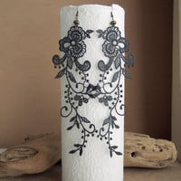 Wisteria lace earrings charcoal grey