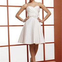 Strapless sweetheart beaded white Short simple Wedding Dresses WDSP0024
