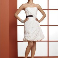 Strapless chocolate sash Short simple Wedding Dresses WDSP0023
