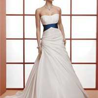 Elegant A-line strapless blue sash sweep train simple Wedding Dresses WDSP0013
