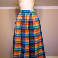 70s High Waisted Cotton Plaid Skirt