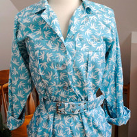SALE 80s Tropical Palms Dress