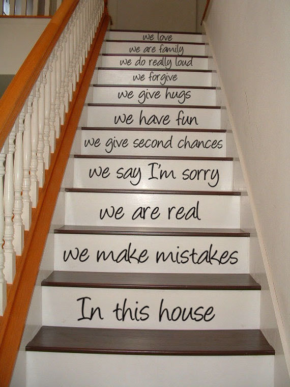 in this house stair case art wall from village vine press. Black Bedroom Furniture Sets. Home Design Ideas