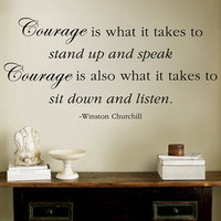 "Winston Churchill Courage Listen Quote  Wall Decal 14""h X 30""w"