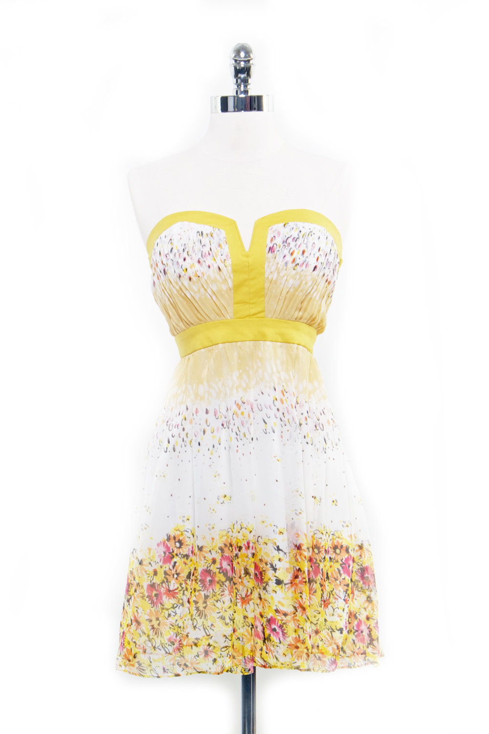 Le Fleur Printed Yellow &amp; White Floral Mini Dress - Unique Vintage - Homecoming Dresses, Pinup &amp; Prom Dresses.