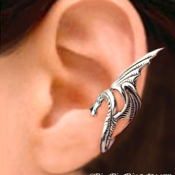 Sea Serpent Silver ear cuff earring - wing snake dragon jewelry - 925 sterling Left earcuff for men and women 080512