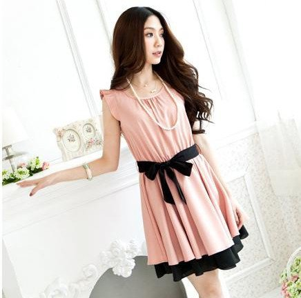 Sweet Dress with Lotus Sleeve and Layered Hem | martofchina.com