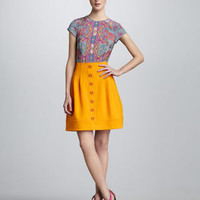 Totem Paisley-Print Top & Button-Front Skirt