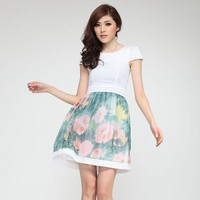 Short-sleeved Chiffon Dress - Designer Shoes|Bqueenshoes.com