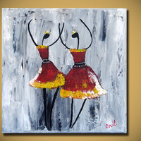 Original Red Ballerina Ballet Dancing Painting Textured Modern Palette Knife Impasto Fine Art by Orit Baron 12x12