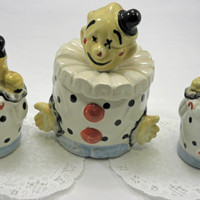 Vintage Large Clown Salt and Peppers Shakers Plus Sugar Container Made in Japan 1940s