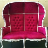 Pink and White Porters Sofa Chair Domed Bonnet Throne King Chair Lounge
