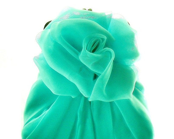 Blue Chiffon Rose Purse - Size Small - Ready To Ship