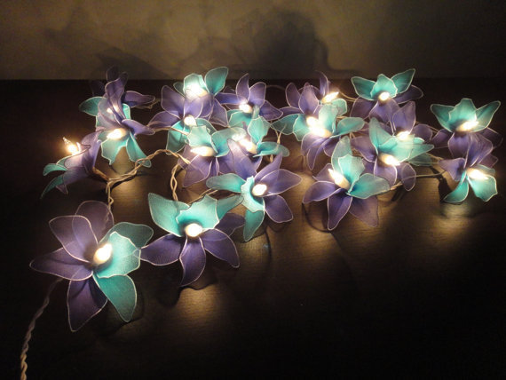 Purple Blue String Lights : 20 Blue-Deep blue-Orchid Flower Fairy from marwincraft on Etsy