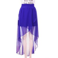 Women Summer Asymetrical Front Short Back Long Split Stye Chiffon Royal Blue Dress S/M/L@TS120151rbl $28.71 only in eFexcity.com.
