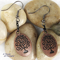 Tibetan Red Copper Tree of Life Earrings