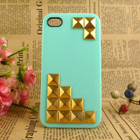 Unique iPhone 4 case, gold iPhone 4s case, studded iPhone case, iPhone cover, mint green iPhone case