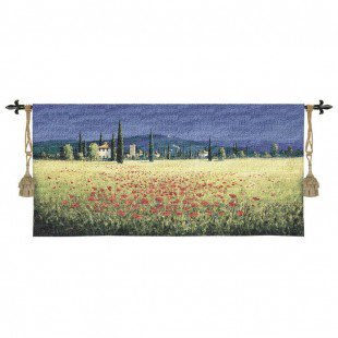 Fine Art Tapestries Tuscan Panorama Poppies Tapestry - David Short - 2228-WH