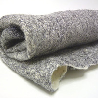 Silver tulle nuno merino wool felt, handmade soft fabric for crafters /// Ready to ship ///