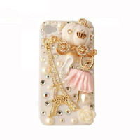 Handmade hard case for iPhone 4 &amp; 4S: Bling Eiffel tower with ballet girl (customized arte welcome)