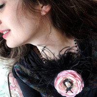 Pink and Black Feather Rose Hair Clip Brooch