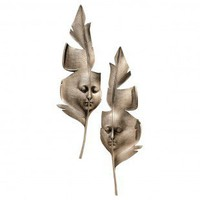 Design Toscano Aurora and Hespera Sculptural Greenmen Wall Masks in Antique Bronze - NG32481