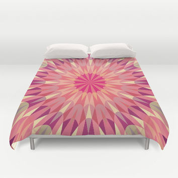 Warm Pink Retro Geometry #2 Duvet Cover by 2sweet4words Designs