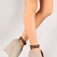 Bamboo Royce-19 Ankle Cuff Slit Wedge Ankle Bootie