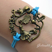 Alice in wonderland-antique brass Alice in wonderland wax cord bracelet, Girl alice,cat teapot charms, blue leather bracelet BAW04