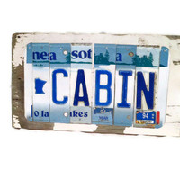 License Plate Sign - Cabin - Minnesota - Blue and White