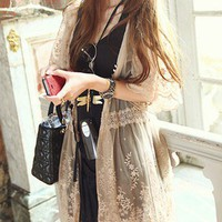 Romantic Feminine Lace Mesh Beige Cardigan. Khaki Sheer Lace Dress