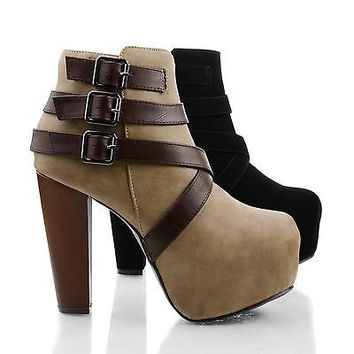 Belter Criss Cross Strappy Platform Ankle Bootie
